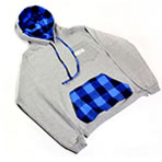 Gray 2-pocket Hooded Sweathsirt-Blue Flannel Pouch Pocket - ON SALE!